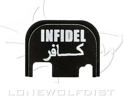 Glock Custom Slide Cover Plate, Infidel (black) Fits All Glock Models