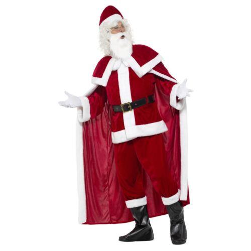 Deluxe Crimson Plush Santa Suit Father Christmas Xmas Fancy Dress Cape Costume