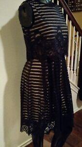 567c7c61545 Image is loading Antonio-Melani-Black-Lace-Overlay-Sleeveless-Cocktail-Dress -