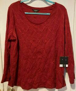 Simply Vera by Vera Wang long sleeve red shirt, 1X, NWT
