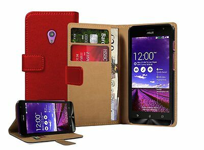 Wallet RED Leather Flip Case Cover Pouch For Asus Zenfone 5 - A501CG