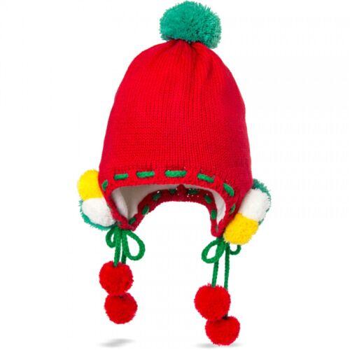 CASPAR Kinder Bommelmütze Strick Mütze Winter Mütze mit vielen bunten Bommel NEU