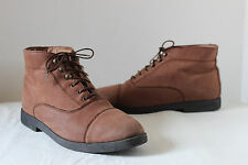 M&S brown nubuck leather ankle walking boots flat work 90s grunge vintage UK 6