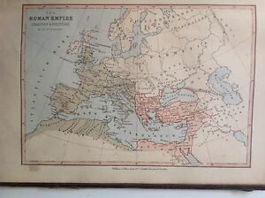 Roman Empire Antique Map C1880 William Collins Atlas Ebay