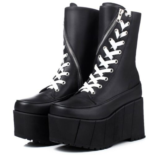 Details about  /womens leather lace-up platform round toe mid calf boots gothic punk shoes size