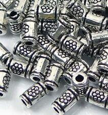 50 Silver Pewter Thai Karen Style Imprint Tube Cylinder spacer Beads