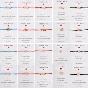Make-A-Wish-Heart-Braided-Bracelet-Friendship-Family-Card-Bangle-Women-Jewelry