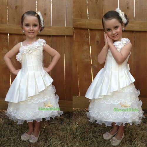 Pearls Lace Tiered Flower Girl Formal Dress Wedding Communion Party Size 9 #260
