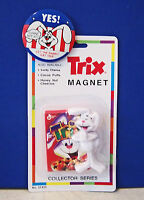 1970s Yes Let The Rabbit Eat Trix Cereal Promo Button & Trix Magnet