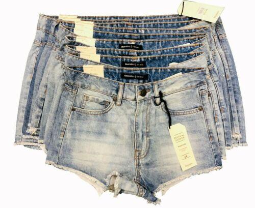 Ladies Bluenote High Rise TAILLE MONTANTE Festival Sexi Hot Shortie Denim Shorts