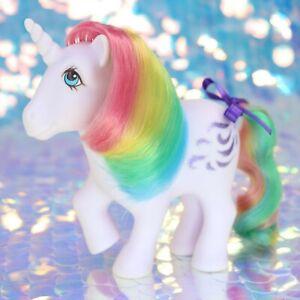 Vintage-My-Little-Pony-WINDY-Rainbow-Hair-Purple-Unicorn-Glitter-G1-MLP-BO850
