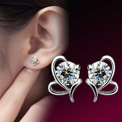 Elegant Korean Lady Silver Plated Bow-Knot Crystal Ear Stud Earrings Jewelry