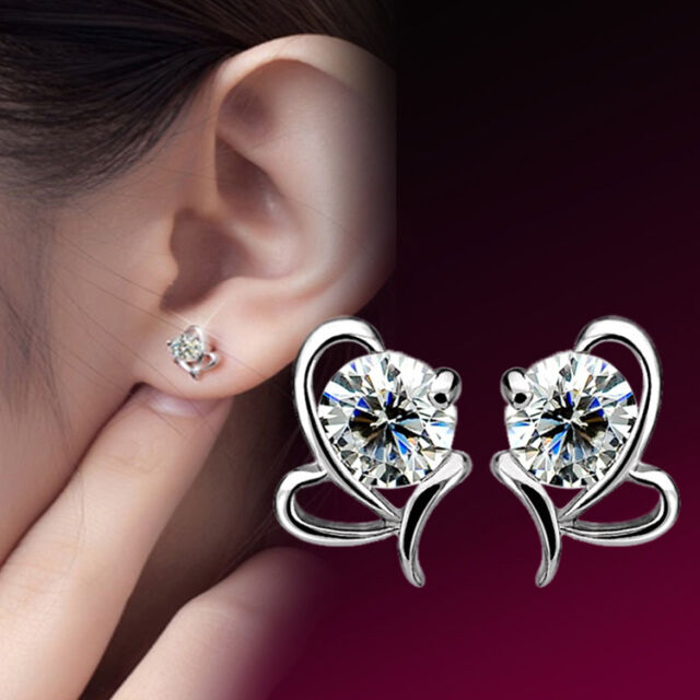 Elegant Korean Lady Silver Plated Bow-Knot Crystal Ear Stud Earrings Jewelry