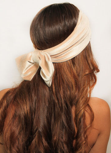 Velvet Bow Back Turban Headband Headwrap Ear Warmer Headpiece