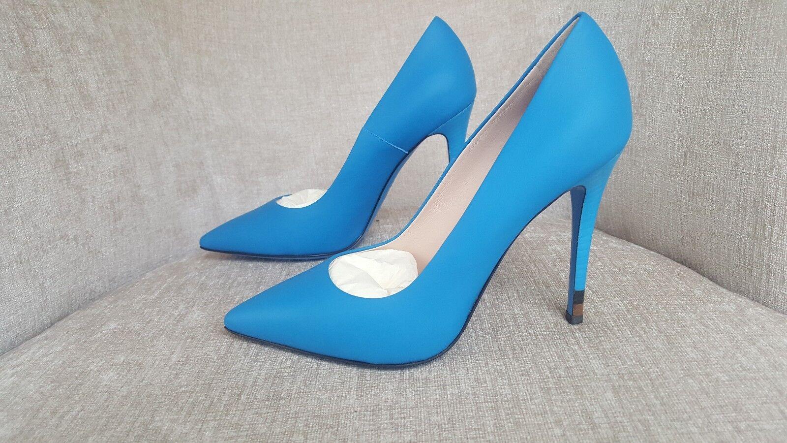 New in Box FENDI en cuir cuir cuir bleu  Anne  Escarpins taille 7 37 Authentique -  725 c8eaa6
