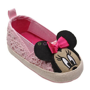 Newborn Baby Girl Red Pink Minnie Mouse Princess Pram Shoes Size 3 6 9 12 Months