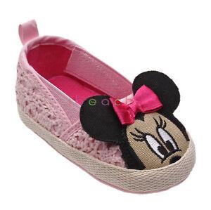 44ec0b1cc Baby Girl Pink Minnie Mouse Bows Crib Shoes Infant Sandals Newborn ...