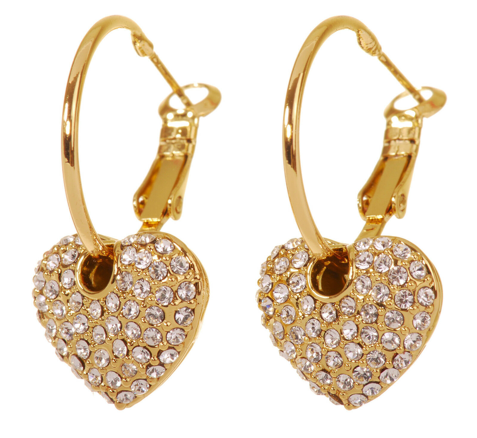 Swarovski Elements Crystal Starlet Puffed Heart Earrings gold Authentic 7117y