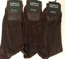 WoW 3 PAIRS BROWN ENRICO MILANO SILKY SHEER NYLON DRESS SOCKS RIBBED 10-13 SOCKS