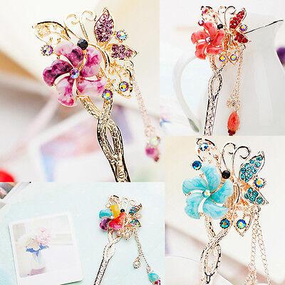 Elegant Damen Haarschmuck Blume Schmetterling Haarnadel Haarstab Bunt MIDE