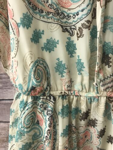 XL M,L S Women/'s Juniors 3 Heart Printed  Ruffle Top Tie Tan dress New XS