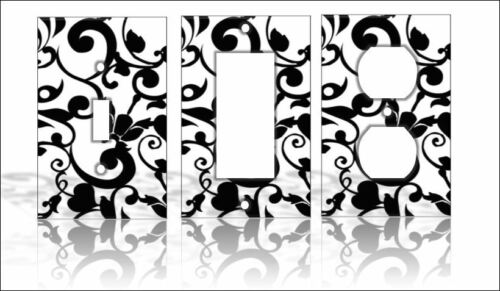 Black /& White Flowers Light Switch Covers Floral Home Decor Outlet