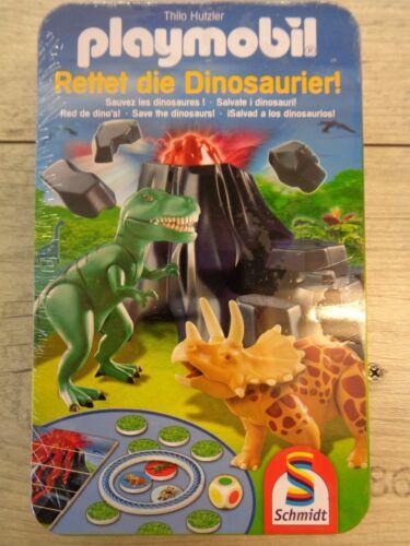 PLAYMOBIL * Salvate i dinosauri * Schmidt * mitbringspiel * LATTINA di metallo * NUOVO * SCATOLA ORIGINALE