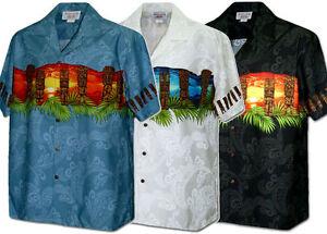 ef918e3abbaa9 Tiki Sunset and Sunrise Tribal Hawaiian Aloha Shirt (Made in Hawaii ...