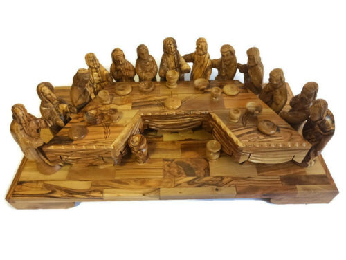 Olive Wood The Last Supper Hand Carved Holy Vintage Land Bethlehem Made Jesus