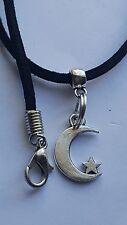 "MOON AND STAR TIBETAN SILVER CHARM ON BLACK 3MM VELVET CORD  18""NECKLACE."
