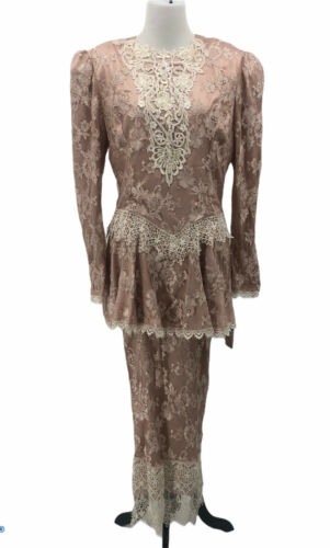 Vintage Jessica McClintock Lace Beaded Brocade Bri