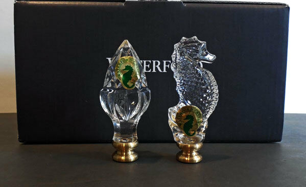 Details about 2 WATERFORD LAMP FINIALS - set / SEAHORSE & ACORN (crystal)  NEW / Box **SALE**
