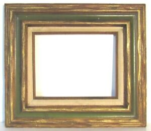 VINTAGE-HAND-CARVED-WOOD-GILDED-GREEN-FRAME-FOR-PAINTING-10-X-8-INCH