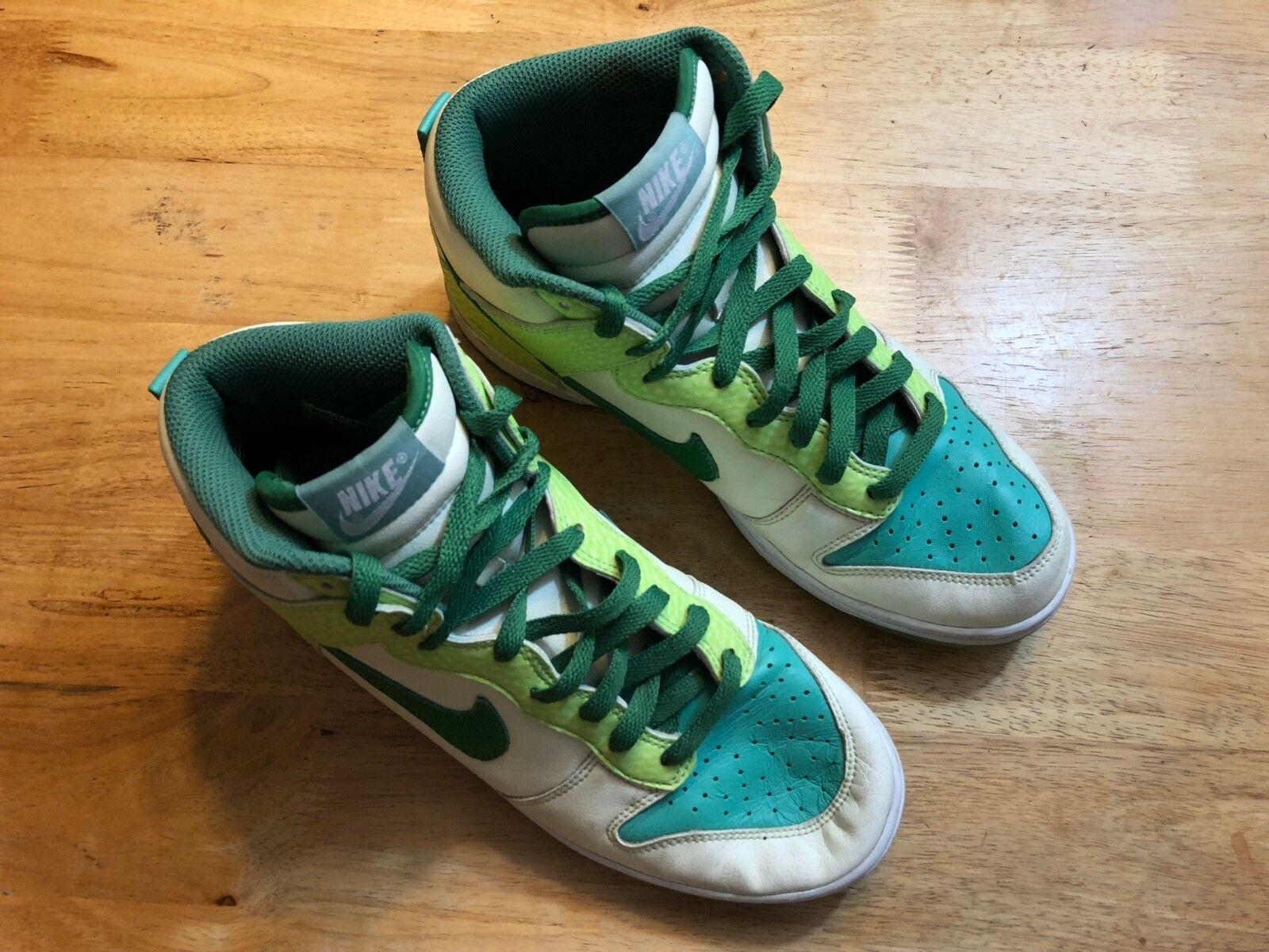 NIKE SB DUNK 312786-131 Sz 7.5 High Top Sneaker Glow In Dark White Green S11