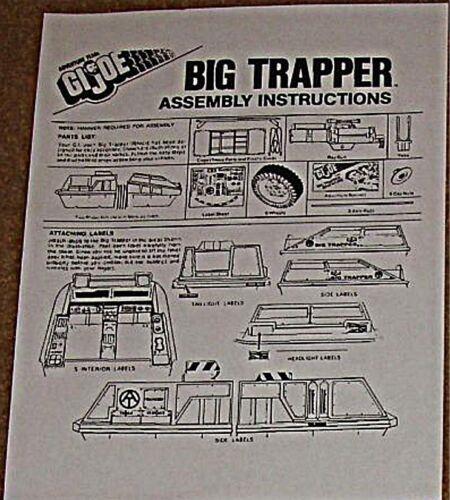ADVENTURES OF GI JOE BIG TRAPPER INSTRUCTION REPRO RARE HASBRO