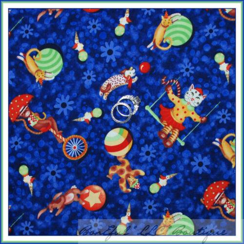 BonEful Fabric FQ Cotton P/&B Big Top Baby CIRCUS Animal Cat Dog Monkey Blue Dot