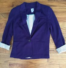 JCPenney JCP Stylus Purple Eggplant Knit Lined Blazer Jacket Women's Sz. Small