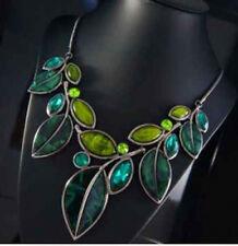 Luxus Statement Kette Paris Halskette Blatt Gliederkette Prestige Kristall Resin