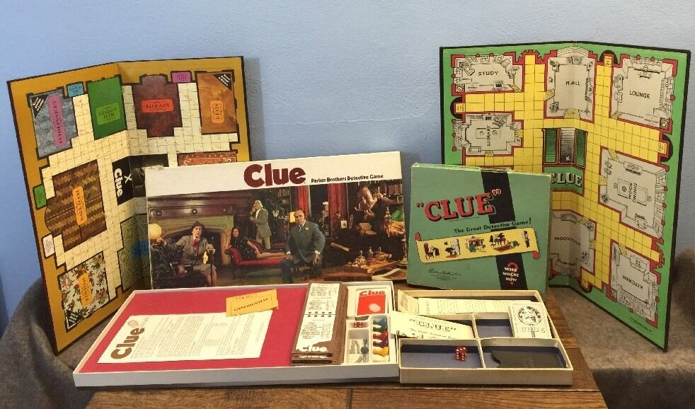 2 Vtg CLUE Games 1950s & 1970s Includes Boards Instructions All Cards Clean