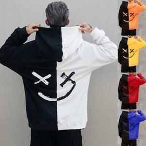 Men-039-s-Smiley-Face-Hoodie-Sweatshirt-Sweater-Hooded-Jumper-Coat-Pullover-Tops