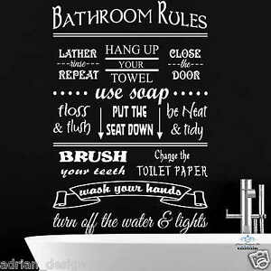 Bathroom Rules bathroom rules, sticker, interior, wall sticker, decal, wallart