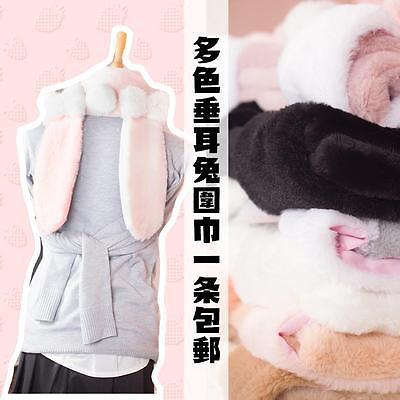 Girl's Rabbit Ears Scarves Warm Scarf  Wrap White Pink Winter Lolita Cute