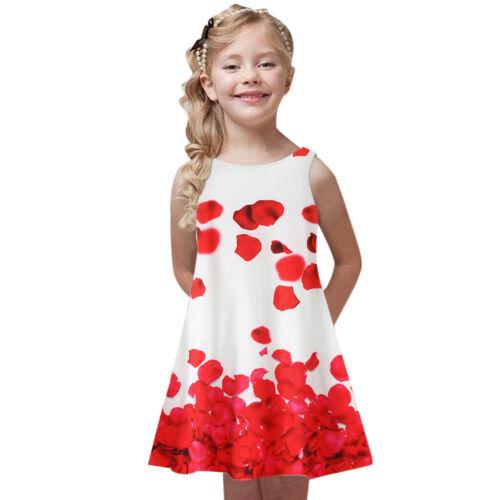 Toddler Girls Summer Princess Dress Kids Baby Printing Party Sleeveless Dresses