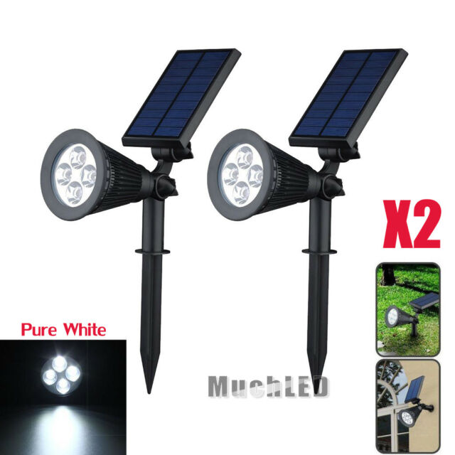 2x 250 Lumen 4 Leds Garden Lamp Solar Led Spotlight Outdoor Lighting Wall Lights