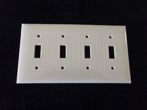 Used Vintage Bakelite Ivory Sierra Light Switch Plate Ribbed Cover Used USA Made