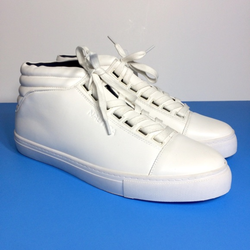Nautica Men's White Leather High Top Sneakers