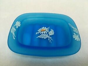Westmoreland-Satin-Blue-Mist-Soap-Dish-Tray-Painted-Flower