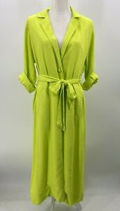AFRM Womens Small Neon Green Duster Light Jacket Belted Tabbed Sleeve NWT