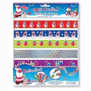Printed-Holographic-Christmas-100-Paper-Chains-Strip-Party-Decorations-10-Design