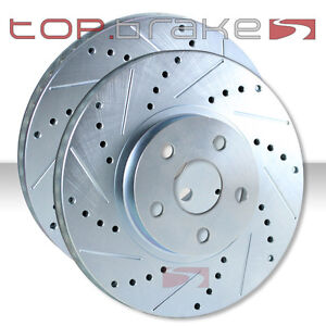 REAR SET Performance Cross Drilled Slotted Brake Disc Rotors TBS12467 FRONT